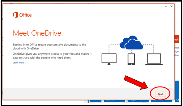screenshot of the Next button at the bottom of the Meet OneDrive pop-up