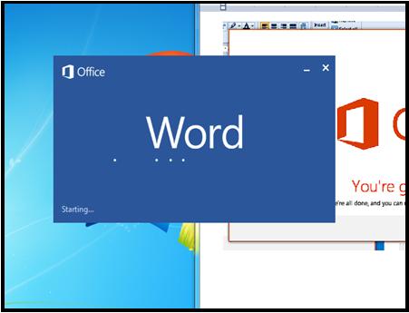 Word starting screenshot