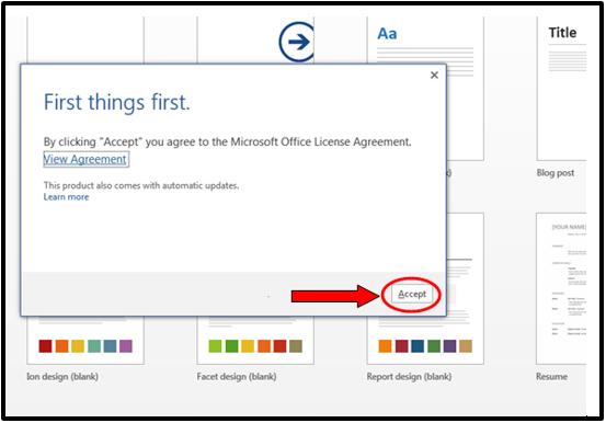 First things first agreement pop-up screenshot