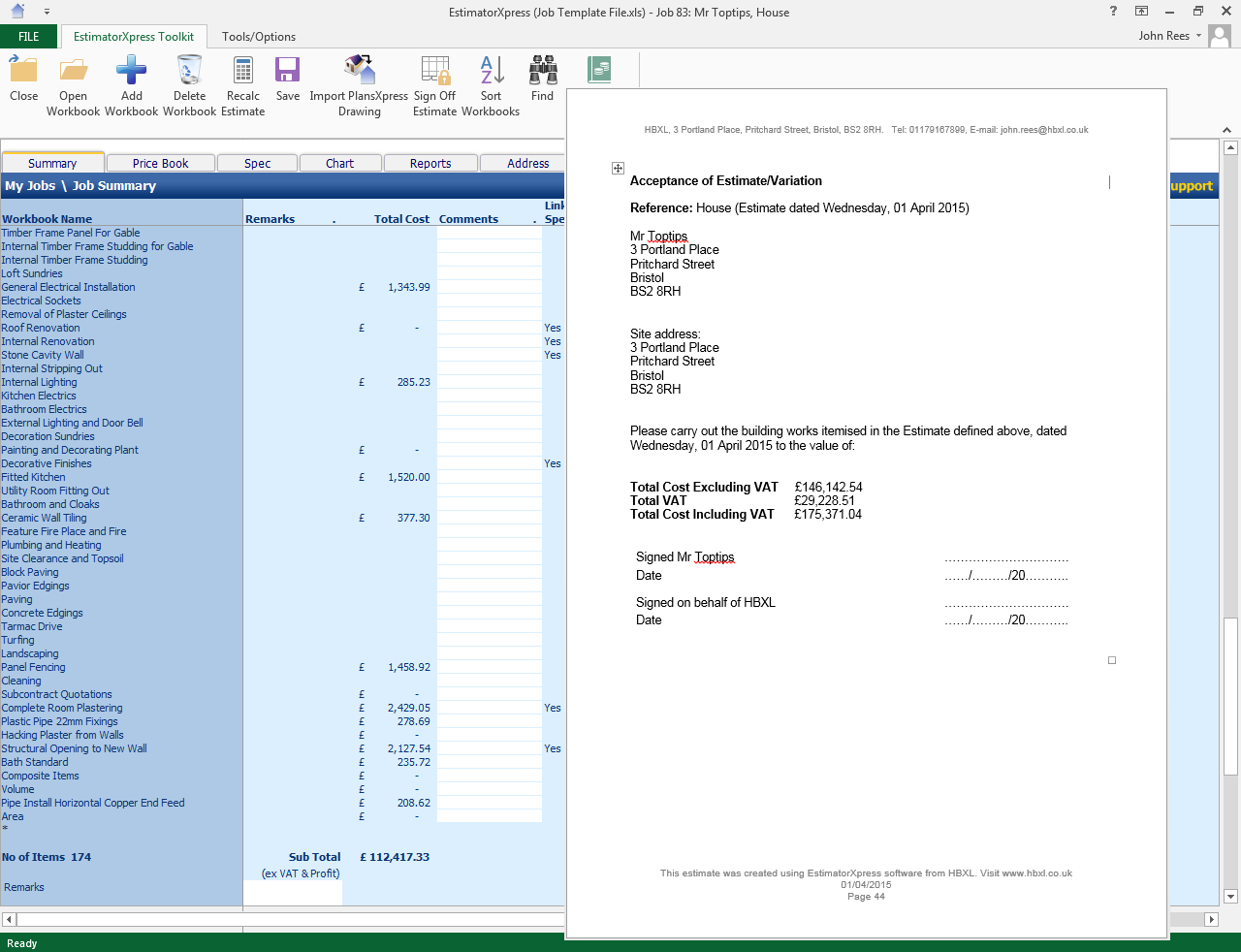 estimate cost vs quote cost hbxl support page is what it ll cost you to execute the build and the figure you see on the final quote document includes profit and possibly vat and inflation