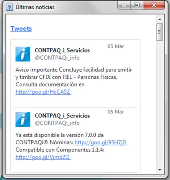 ventana de tuits twits ultimas noticias en contpaq