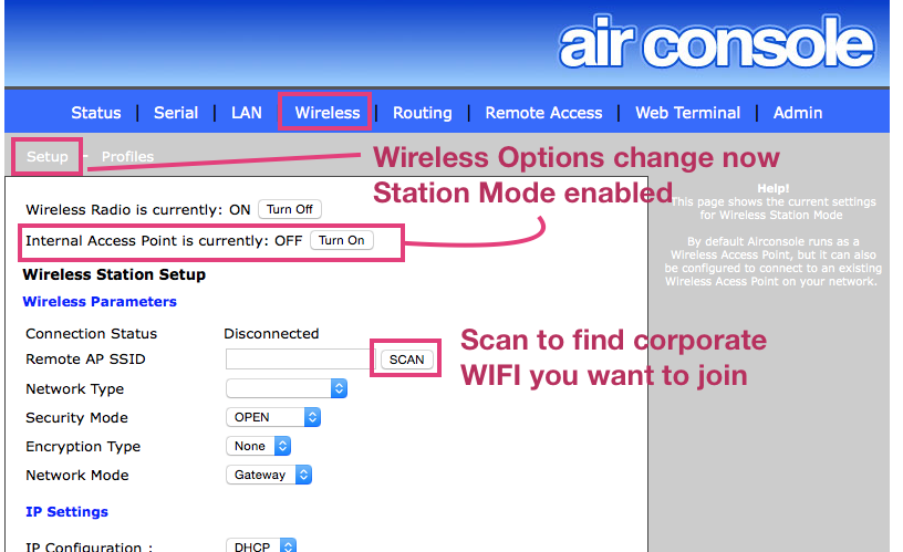 Connecting Airconsole to External WIFIs - AP Client vs