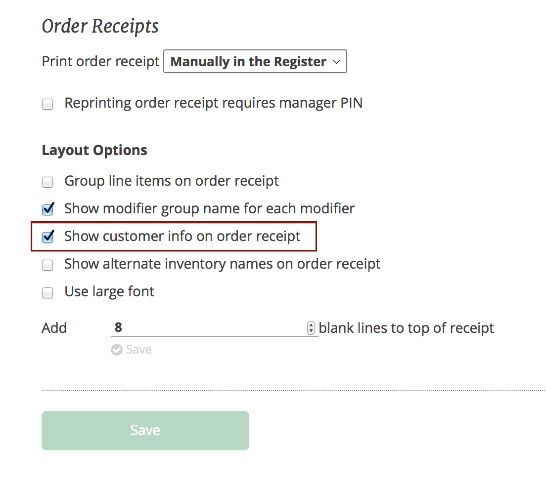 how to add customer contact info to the order receipt 4 leaf labs