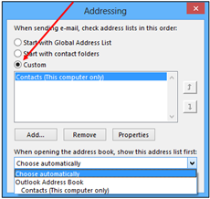 addressing window with custom button selected