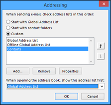 addressing box with choose automatically chnaged to global address list