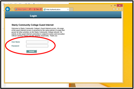 screenshot of example login screen to connect to wireless network