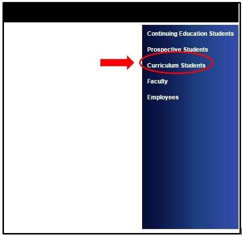 Screenshot of Curriculum Students link on the right side of the WebAdvisor webpage