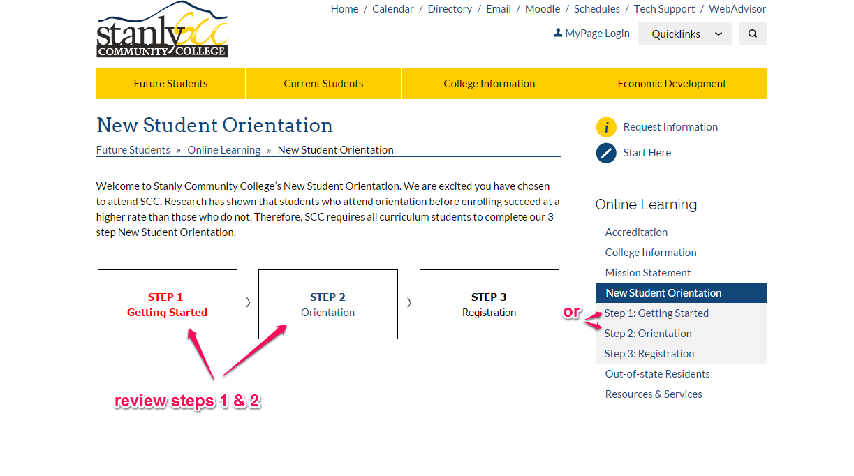 "review steps 1 and 2, until you get to the ""Online Orientation"" link"