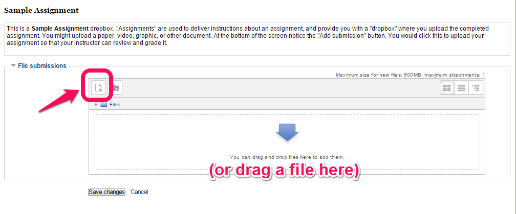 File submissions screen with the Upload File icon, or the ability to drag and drop into the area