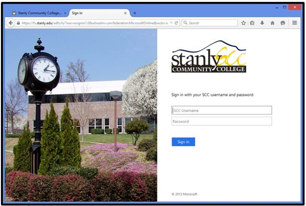 Stanly Community College sign in page screenshot