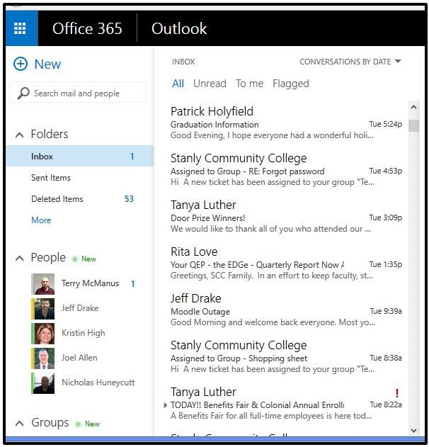 Office 365 Outlook screenshot example