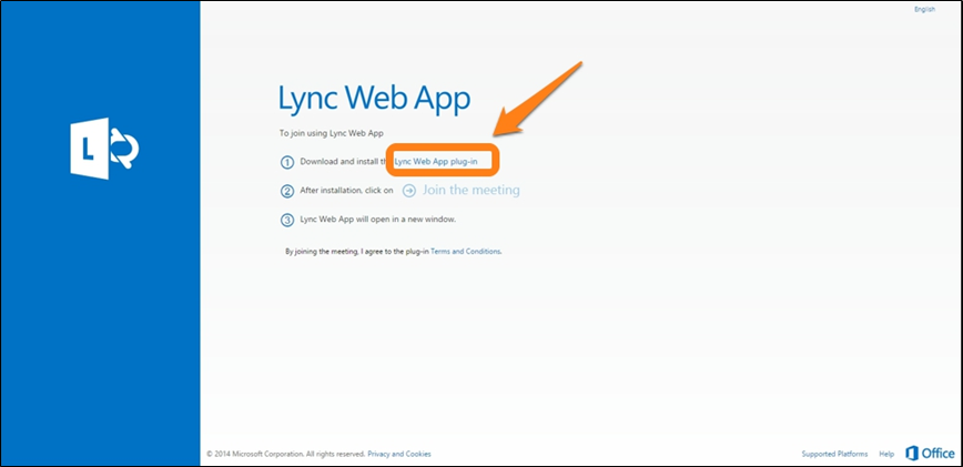 Lync Web App window with the install link highlighted