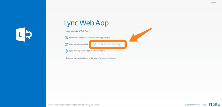 Lync Web App window with Join the Meeting option highlighted