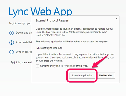 Request permission prompt window with Launch Application button highlighted