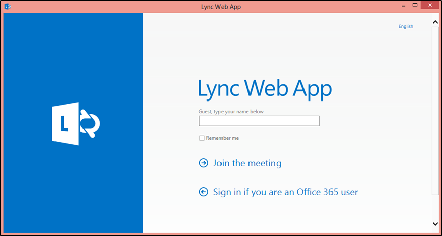 Lync Web App window with space to enter name and link to Join the meeting