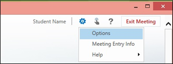 Lync Web App window options gear icon in upper right corner