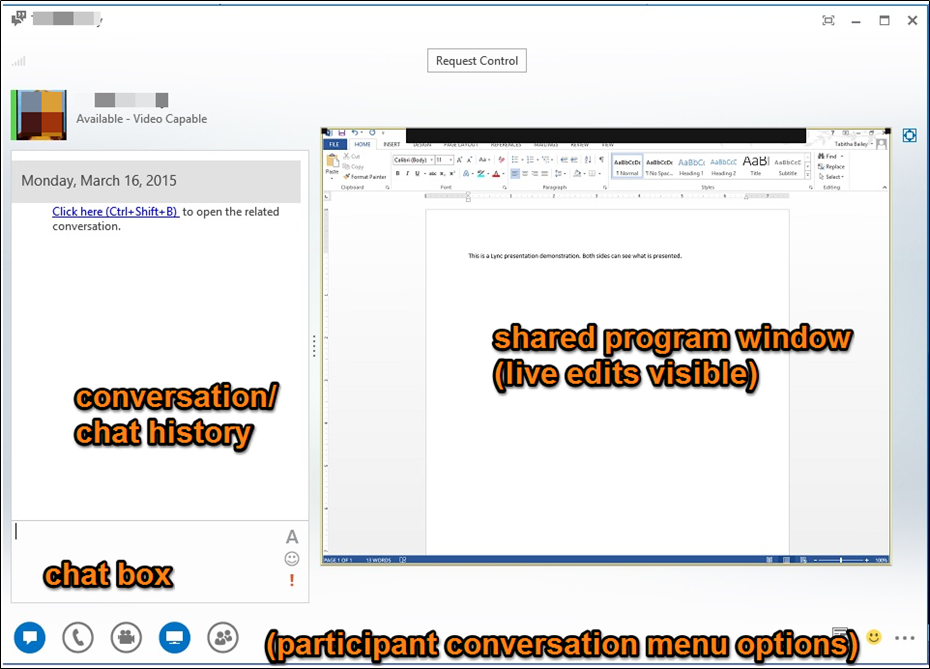 Lync window with conversation/chat history on left side with a chat textbox below it, menu options at bottom left, and any shared presentation on right side of window