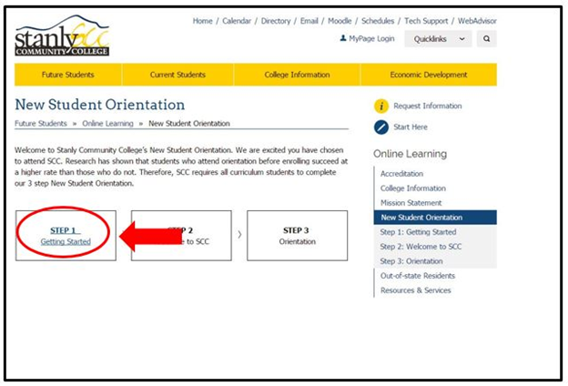 New Student Orientation webpage screenshot with the Step 1 Getting Started link on the left side