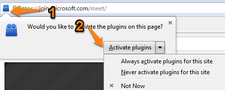 Firefox browser select plug-in block icon to left of menu bar, then choose to Activate Plug-In from drop-down menu