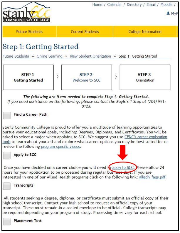 Step 1 Getting Started webpage screenshot