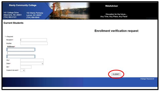 Enrollment Verification request form