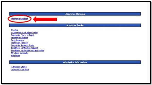 Program Evaluation link location
