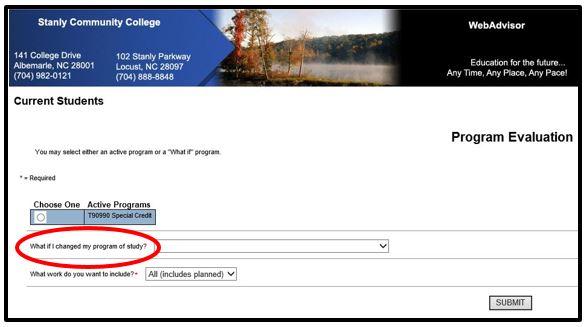 Program of Study change field