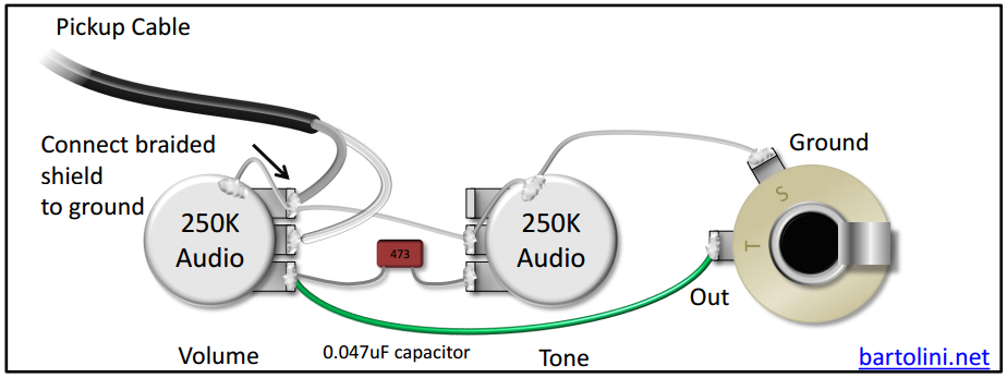 the pickups wiring diagram is confusing do you have a simplified a capacitor of lower value will provide brighter tone for basses common values are between 0 047uf darkest tone and 0 022uf brightest tone