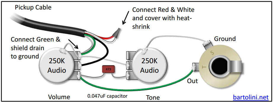 The Diagram Below Is A Very Simple Setup For Passive Tone And Volume With Pickup Using 4 Conductor Cable This Will Connect Coils In Series: 4 Conductor Wiring Diagram At Gundyle.co
