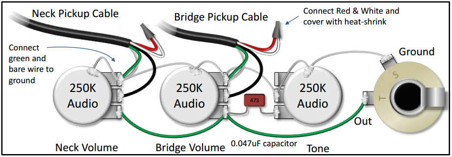 the pickups wiring diagram is confusing do you have a simplifiedthis diagram shows how to connect 2 single conductor pickups to a blend pot as part of a bartolini pre wired harness