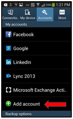 accounts tab in settings menu on cell phone add account option