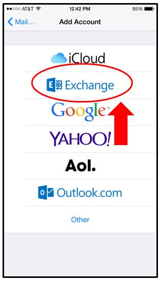 Exchange logo option in the add account menu