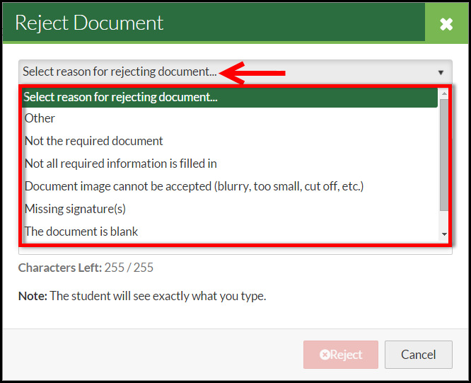 Document Review - Rejecting Document :