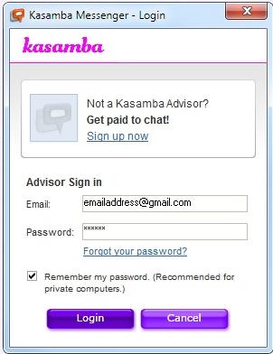 kasamba log in
