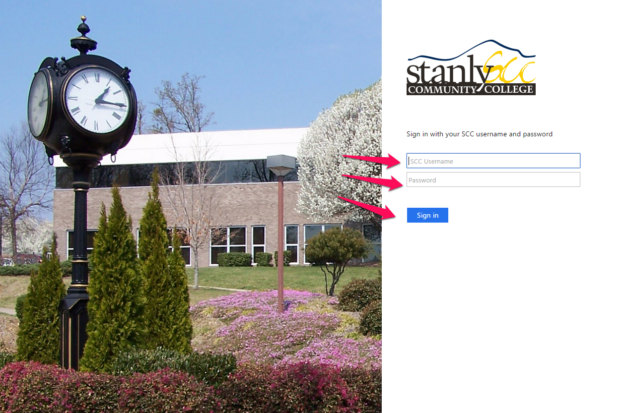 Stanly CC login page, requesting username and password
