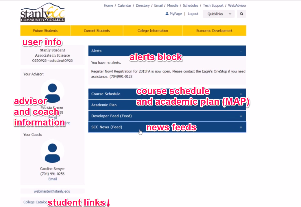 MyPage with user information on upper left column, advisor and coach information on middle left column, and student links on bottom left column; alerts block on right, followed by course schedule, academic plan (MAP), and news feeds
