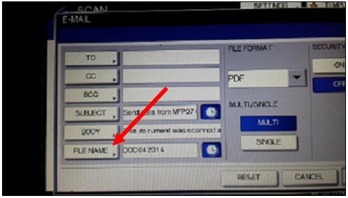 image of Toshiba File Name button