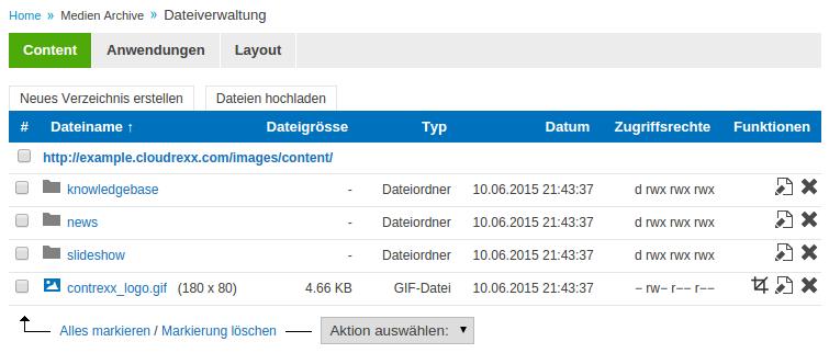 Dateiverwaltung in der Adminkonsole