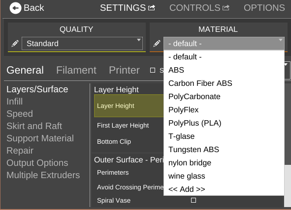 Altair Material Slice Settings in MatterControl Altair V1&2 only