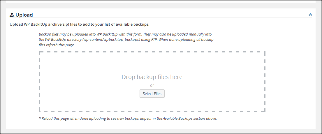 Upload Backup