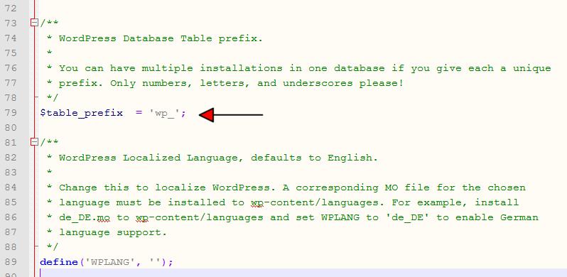 wpconfig contents table prefix