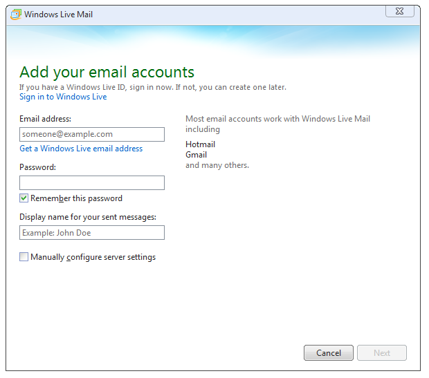 Add Your Gmail Account to Windows Live Mail : iHOUSEweb Support
