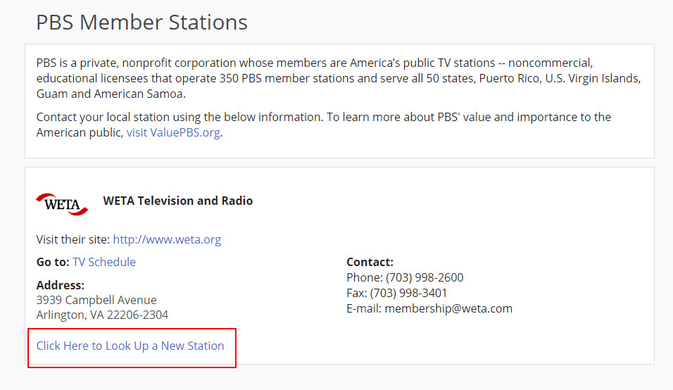 How do I contact my local PBS member station? : PBS Help