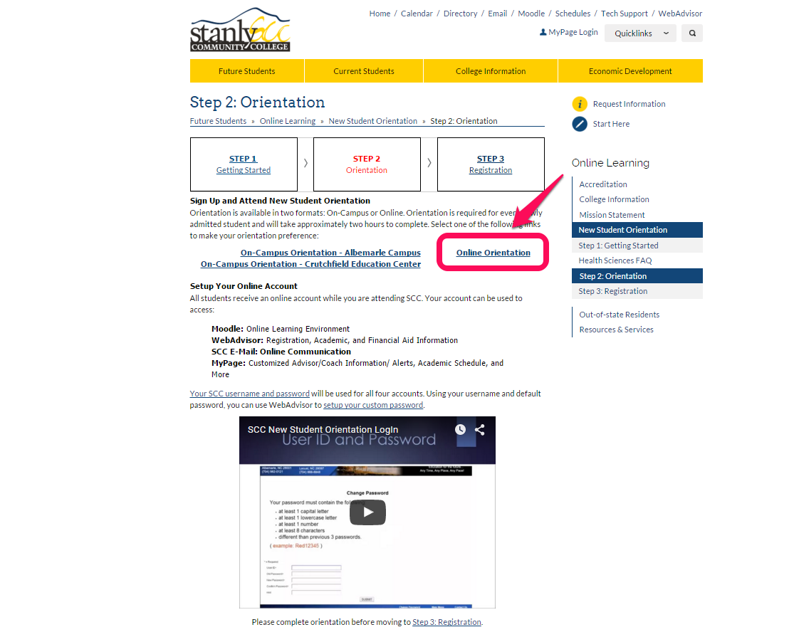 Step 2: Online Orientation link (and information on your account)