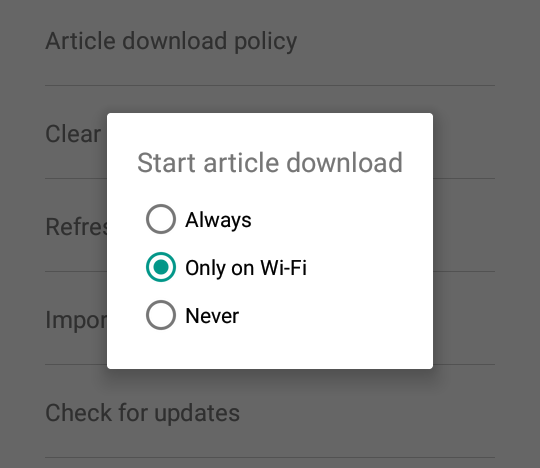 Basket article download policies for android