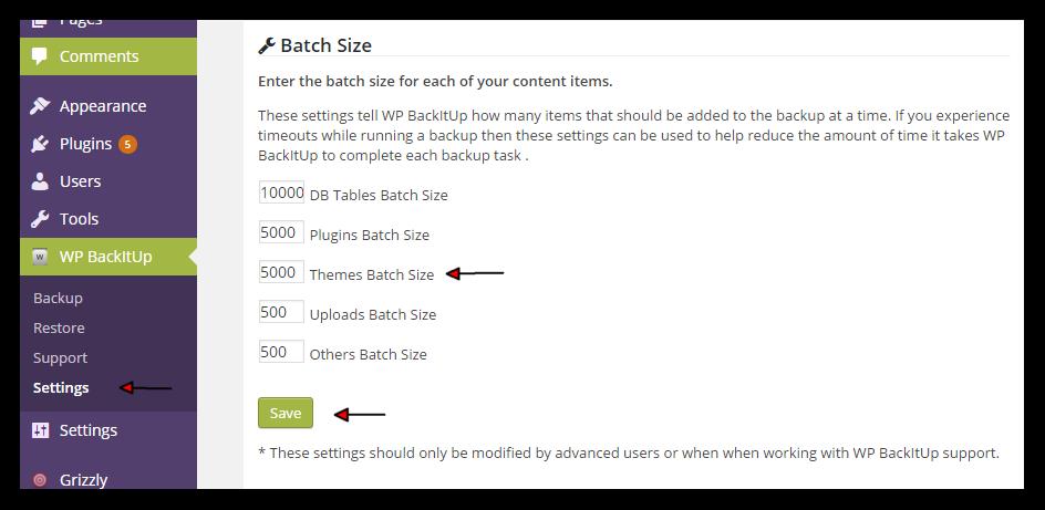 Themes Batch Size
