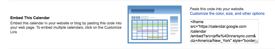 Embed a Google Calendar on your web page : Help Desk