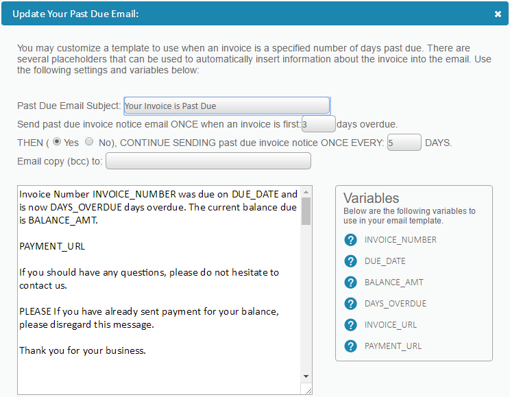 Email Templates Invoicing Help Center - Past due invoice email template