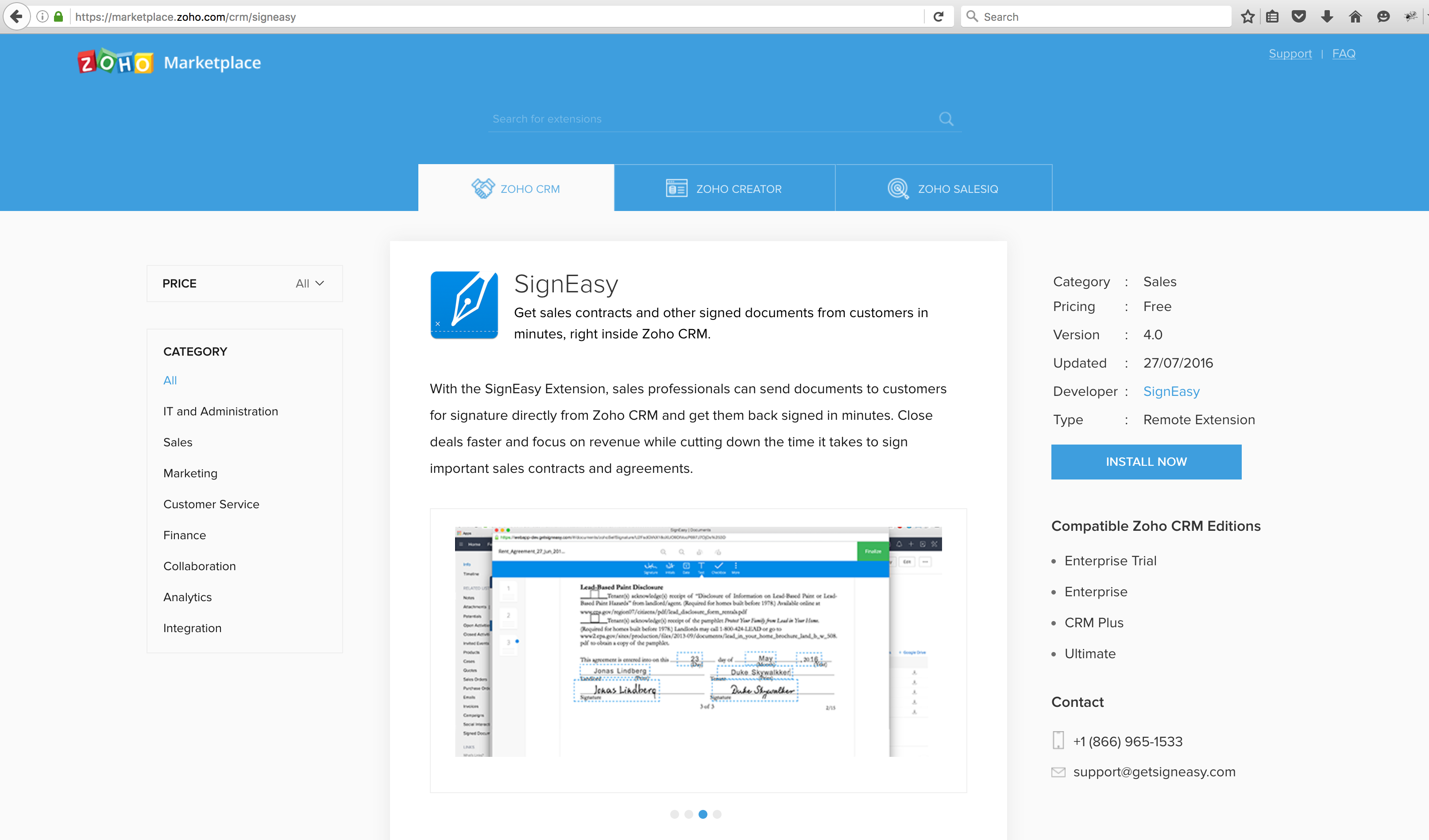 SignEasy on Zoho marketplace