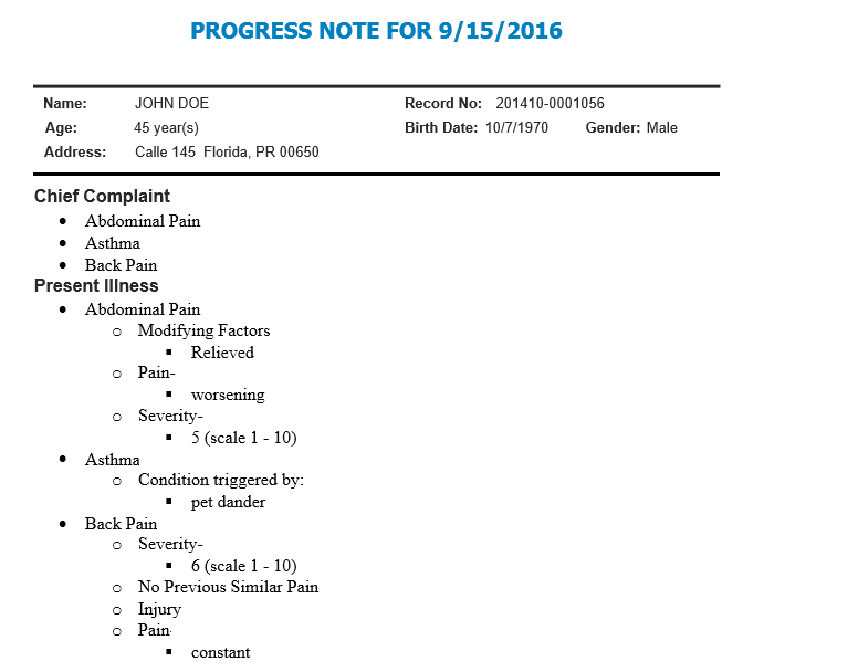progress note format
